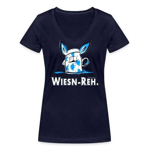 WiesnReh - weiße Schrift - Frauen Bio-T-Shirt mit V-Ausschnitt von Stanley & Stella