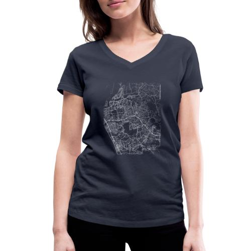Minimal Vista city map and streets - Women's Organic V-Neck T-Shirt by Stanley & Stella