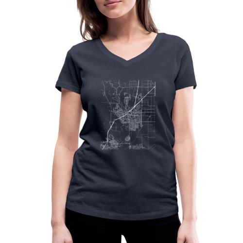 Minimal Vacaville city map and streets - Women's Organic V-Neck T-Shirt by Stanley & Stella