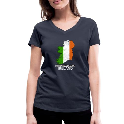 Straight Outta Ireland (Eire) country map flag - Women's Organic V-Neck T-Shirt by Stanley & Stella
