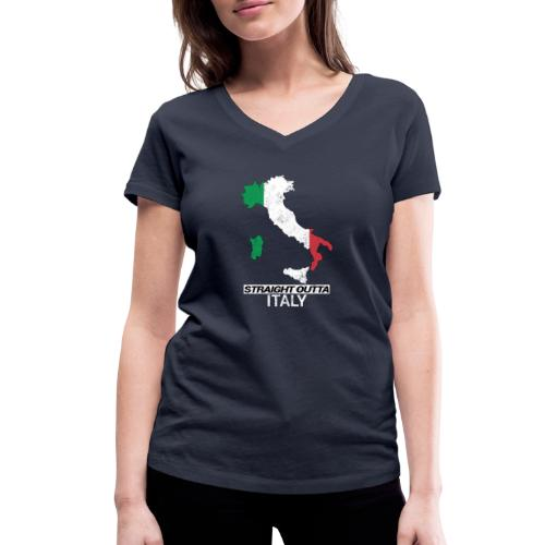 Straight Outta Italy (Italia) country map flag - Women's Organic V-Neck T-Shirt by Stanley & Stella