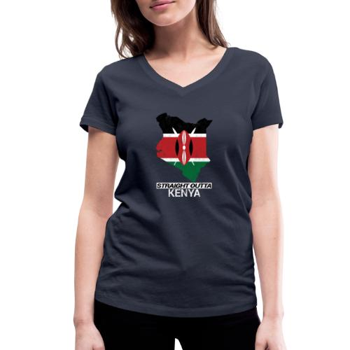 Straight Outta Kenya country map & flag - Women's Organic V-Neck T-Shirt by Stanley & Stella