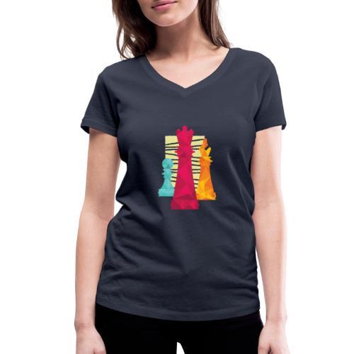 Schach Figuren Bauer König Läufer - Frauen Bio-T-Shirt mit V-Ausschnitt von Stanley & Stella