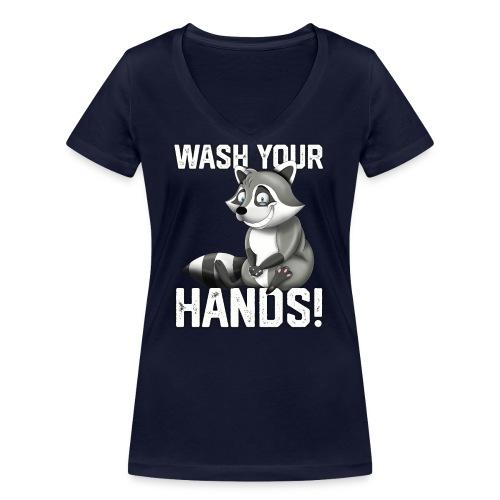 Wash Your Hands | Raccoon Lover | Wash Hand - T-shirt ecologica da donna con scollo a V di Stanley & Stella