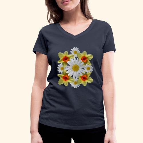 Narzissen Margeriten Osterglocken Blumen Blüten - Frauen Bio-T-Shirt mit V-Ausschnitt von Stanley & Stella