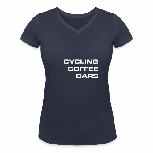 Cycling Cars & Coffee - Women's Organic V-Neck T-Shirt by Stanley & Stella