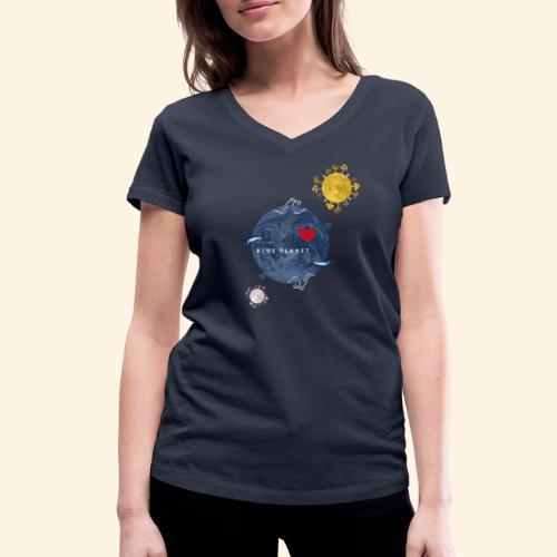 Blue Planet with Sun and Moon - Vrouwen bio T-shirt met V-hals van Stanley & Stella