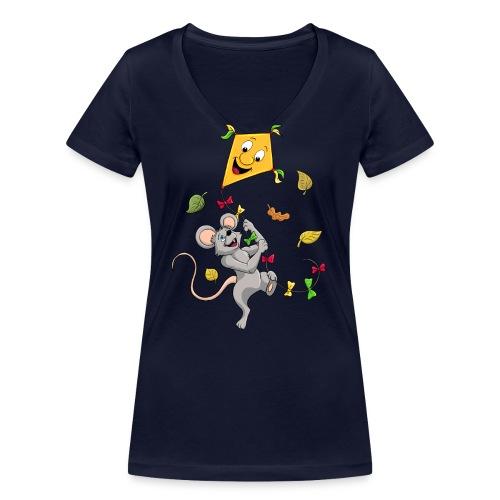 Maus mit Drachen im Herbst - Frauen Bio-T-Shirt mit V-Ausschnitt von Stanley & Stella