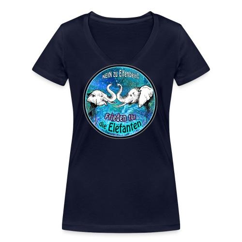 Frieden für die Elefanten - Frauen Bio-T-Shirt mit V-Ausschnitt von Stanley & Stella