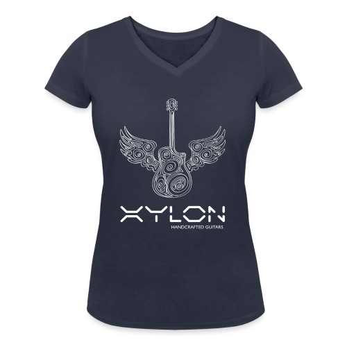 Xylon Guitars Premium T-shirt (white design) - Women's Organic V-Neck T-Shirt by Stanley & Stella