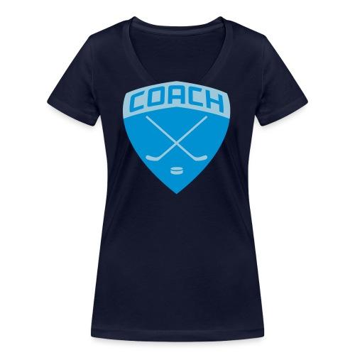 ice-hockey-coach-blue_vec - Women's Organic V-Neck T-Shirt by Stanley & Stella