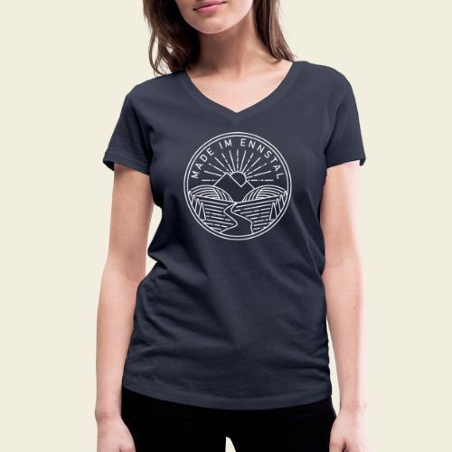 Made im Ennstal, weiß - Frauen Bio-T-Shirt mit V-Ausschnitt von Stanley & Stella