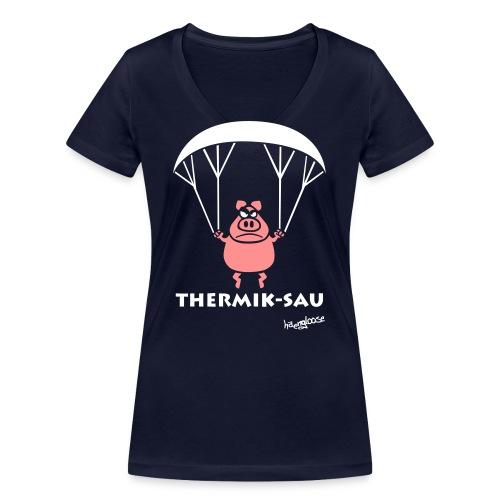 ThermikSau_braun - Frauen Bio-T-Shirt mit V-Ausschnitt von Stanley & Stella