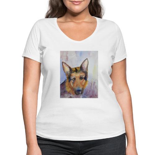 german shepherd wc - Økologisk Stanley & Stella T-shirt med V-udskæring til damer