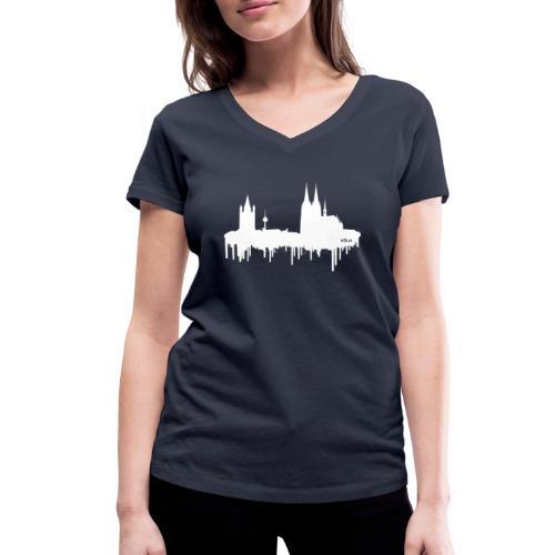 Skyline Köln - Weiß - Frauen Bio-T-Shirt mit V-Ausschnitt von Stanley & Stella