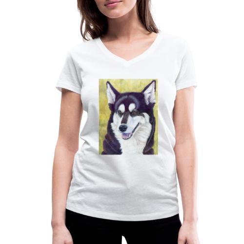 Siberian husky - Økologisk Stanley & Stella T-shirt med V-udskæring til damer