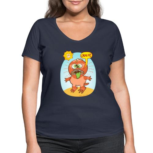 Bad summer sunburn for a funny dinosaur - Women's Organic V-Neck T-Shirt by Stanley & Stella