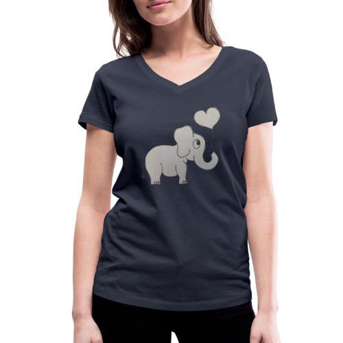 LackyElephant - Frauen Bio-T-Shirt mit V-Ausschnitt von Stanley & Stella
