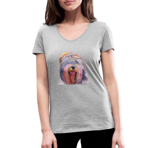schapendoes - Økologisk Stanley & Stella T-shirt med V-udskæring til damer