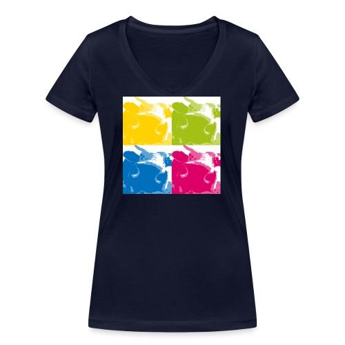 4 Kühe - Frauen Bio-T-Shirt mit V-Ausschnitt von Stanley & Stella