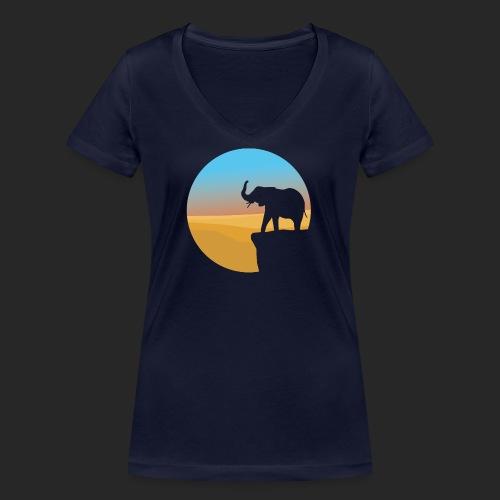 Sunset Elephant - Women's Organic V-Neck T-Shirt by Stanley & Stella