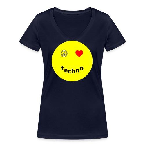 camiseta paz amor techno - Camiseta ecológica mujer con cuello de pico de Stanley & Stella
