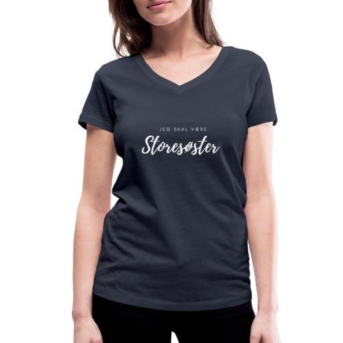 Jeg skal være storesøster - Økologisk Stanley & Stella T-shirt med V-udskæring til damer
