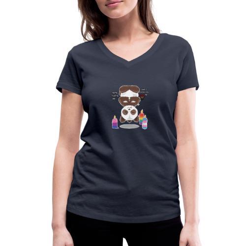 Panda Love - Økologisk Stanley & Stella T-shirt med V-udskæring til damer