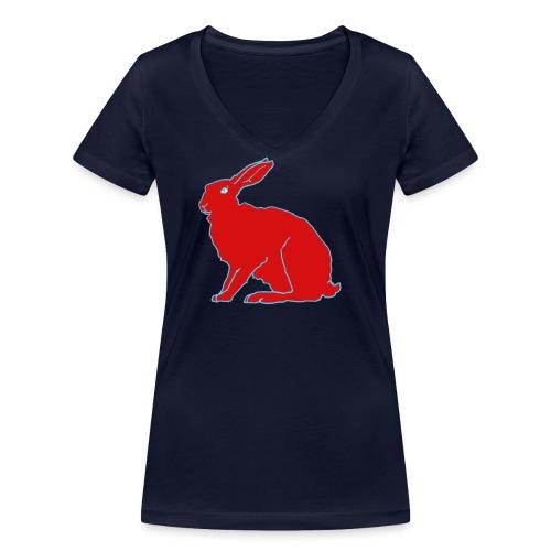 Roter Hase - Frauen Bio-T-Shirt mit V-Ausschnitt von Stanley & Stella