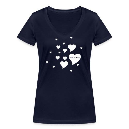 American Spanish Corazones - Camiseta ecológica mujer con cuello de pico de Stanley & Stella