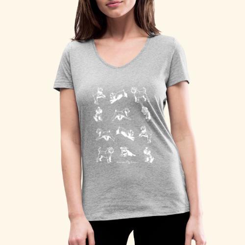 Brussel Griffon Pattern white - T-shirt bio col V Stanley & Stella Femme