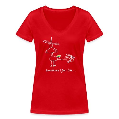 Dru - sometimes I feel like... (weisse Outline) - Frauen Bio-T-Shirt mit V-Ausschnitt von Stanley & Stella