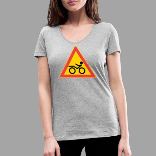 Traffic sign Recumbent - Stanley & Stellan naisten v-aukkoinen luomu-T-paita