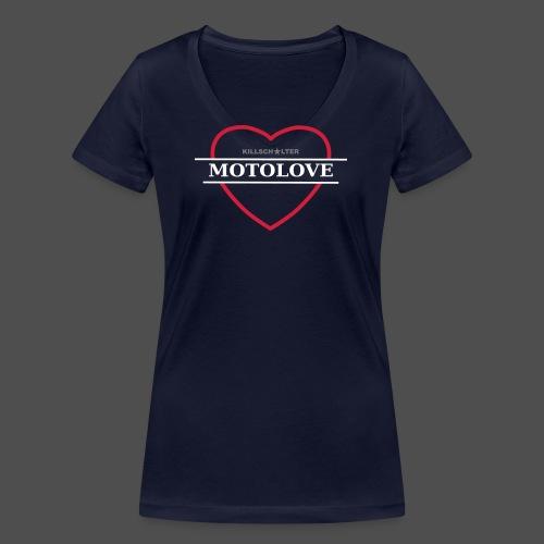 MOTO MIŁOŚĆ - Ekologiczna koszulka damska z dekoltem w serek Stanley & Stella
