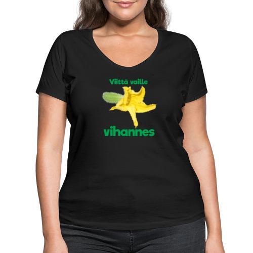 Viittä vaille vihannes, avomaankurkku - Stanley & Stellan naisten v-aukkoinen luomu-T-paita