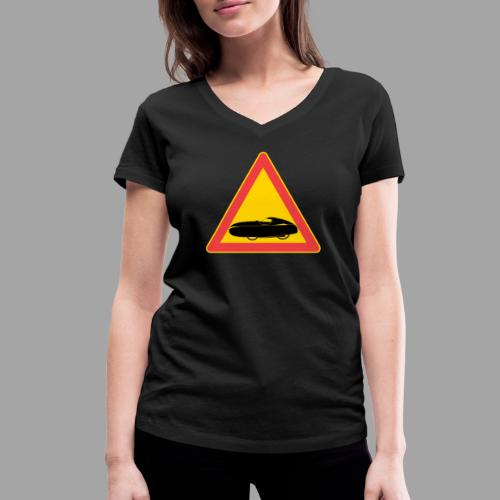 Traffic sign velomobile - Stanley & Stellan naisten v-aukkoinen luomu-T-paita