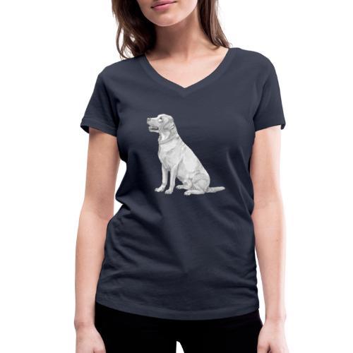 labrador Retriever Yellow - Ink - Økologisk Stanley & Stella T-shirt med V-udskæring til damer