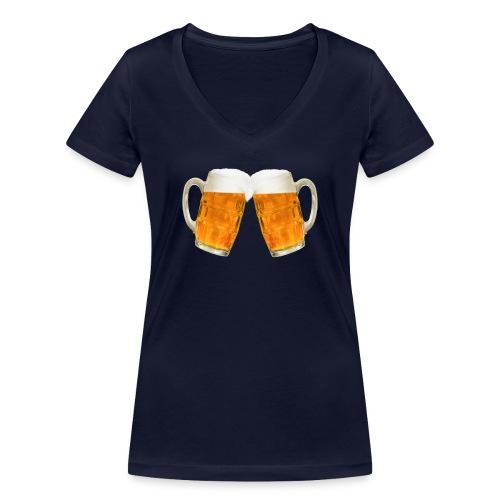 Zwei Bier - Frauen Bio-T-Shirt mit V-Ausschnitt von Stanley & Stella