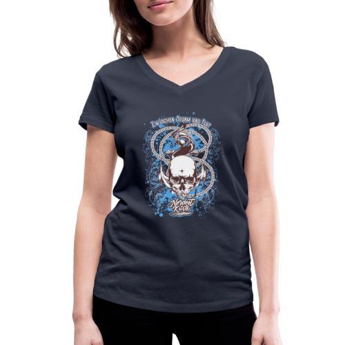 Skull Anker Design Art - Frauen Bio-T-Shirt mit V-Ausschnitt von Stanley & Stella