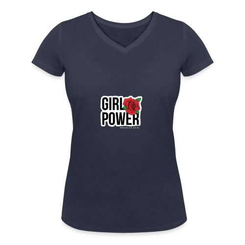Girlpower - T-shirt ecologica da donna con scollo a V di Stanley & Stella