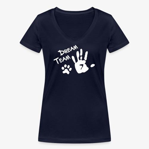 Dream Team Hand Hundpfote - Frauen Bio-T-Shirt mit V-Ausschnitt von Stanley & Stella