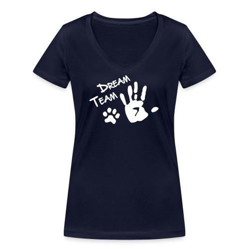 Vorschau: Dream Team Hand Hundpfote - Frauen Bio-T-Shirt mit V-Ausschnitt von Stanley & Stella