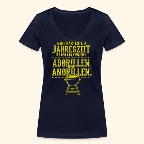 Grill-T-Shirt Grillsaison Abgrillen Angrillen - Frauen Bio-T-Shirt mit V-Ausschnitt von Stanley & Stella