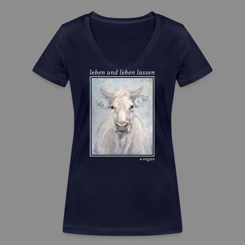 Kuh-Portrait - vegan - Frauen Bio-T-Shirt mit V-Ausschnitt von Stanley & Stella