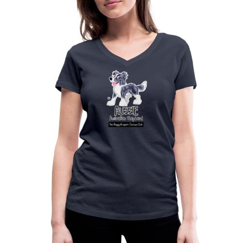 Aussie CartoonClub - Merle - Women's Organic V-Neck T-Shirt by Stanley & Stella