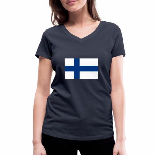 Suomenlippu - tuoteperhe - Stanley & Stellan naisten v-aukkoinen luomu-T-paita