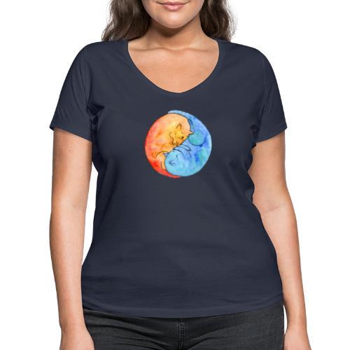 Katzenfreunde Yin Yang orange und blau - Frauen Bio-T-Shirt mit V-Ausschnitt von Stanley & Stella