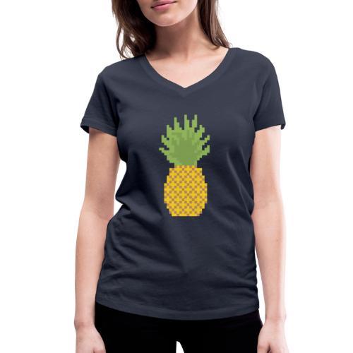 Pineapple Pixel Art - Women's Organic V-Neck T-Shirt by Stanley & Stella
