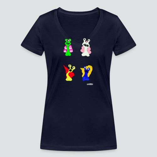 4 Snails 2 png - Frauen Bio-T-Shirt mit V-Ausschnitt von Stanley & Stella