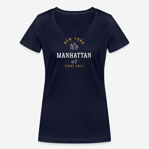 NEW YORK - MANHATTAN - T-shirt ecologica da donna con scollo a V di Stanley & Stella